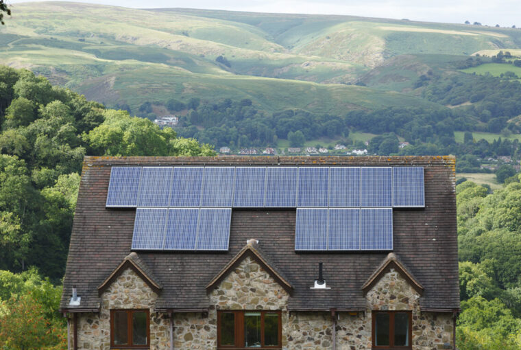 Solar panels on roof of house UK