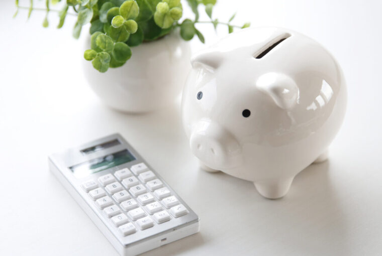 Piggy bank, calculator and plant in a white pot