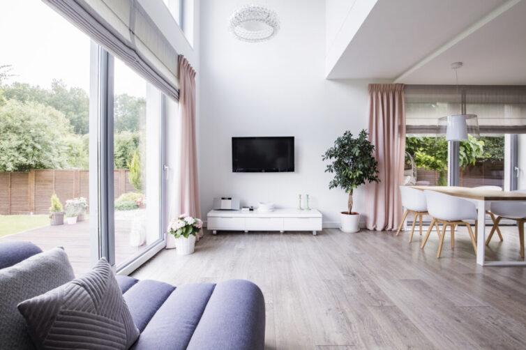 Minimalist Living Room With Large Window and Doors