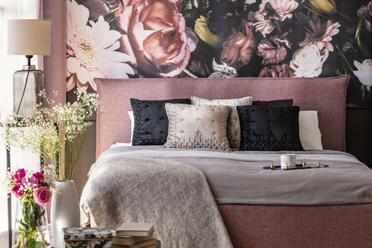 Bedroom with large flower wallpaper
