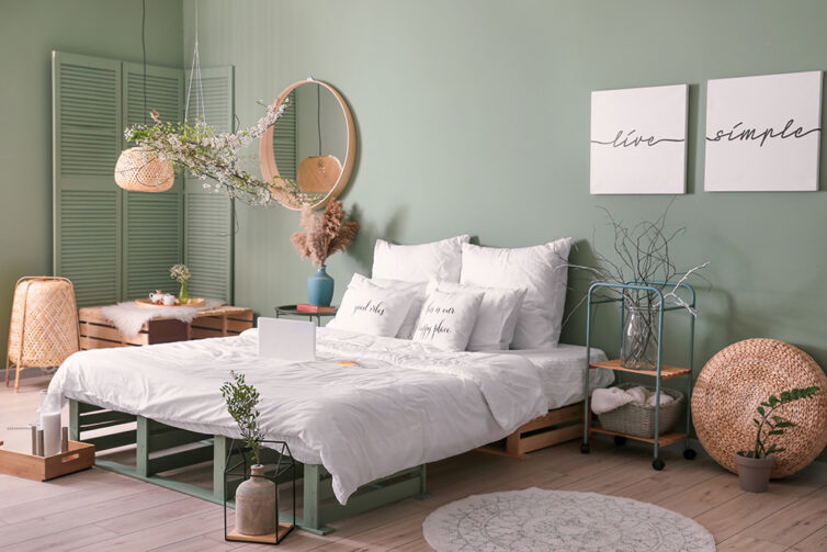 Dusty Green painted wall
