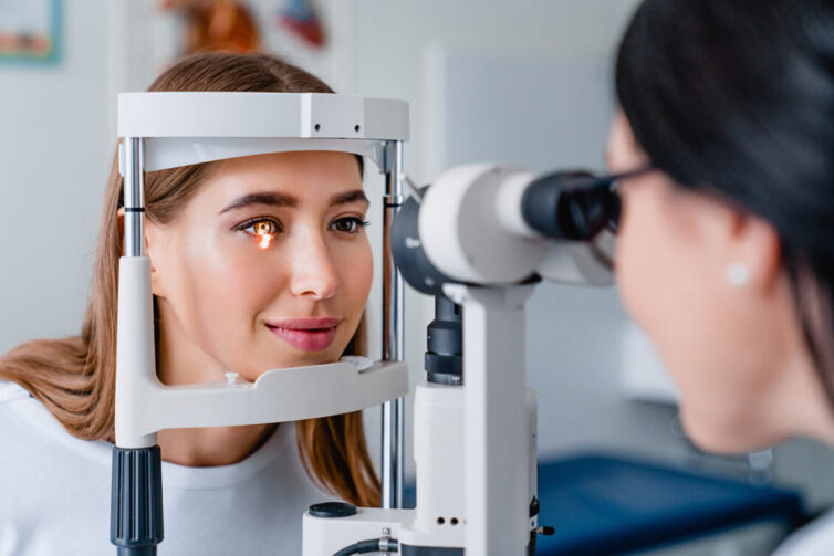 Women having eye examination