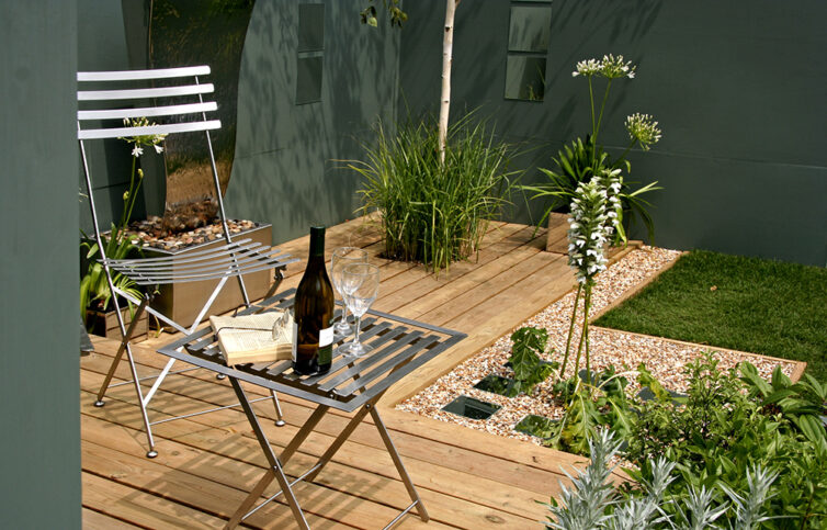 Garden decking with patio furniture
