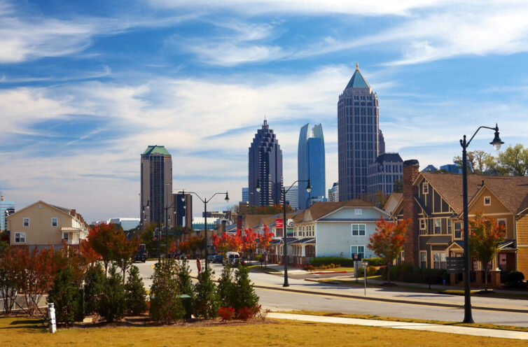 Houses against the midtown. Atlanta, GA. USA