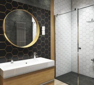Modern bathroom. Hexagonal tiles, floating vanity, oblong sink and round bathroom mittor.