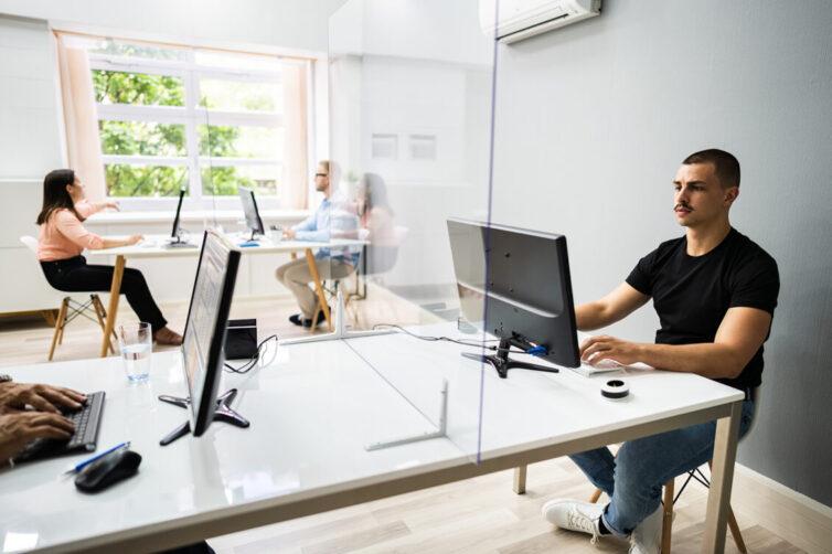 Office, Social distancing, desk partition