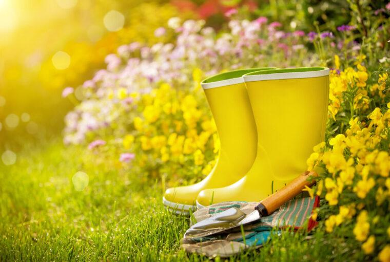 Yellow wellington boots in garden with garden tools