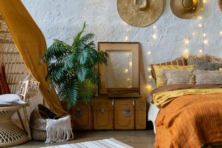Boho style bedroom interior. Hippi, eclectic bedroom.