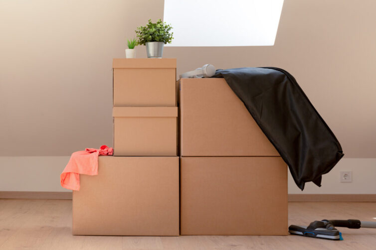 Storage boxes in attic