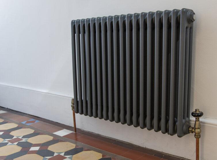 Dark grey cast iron traditional style column radiator