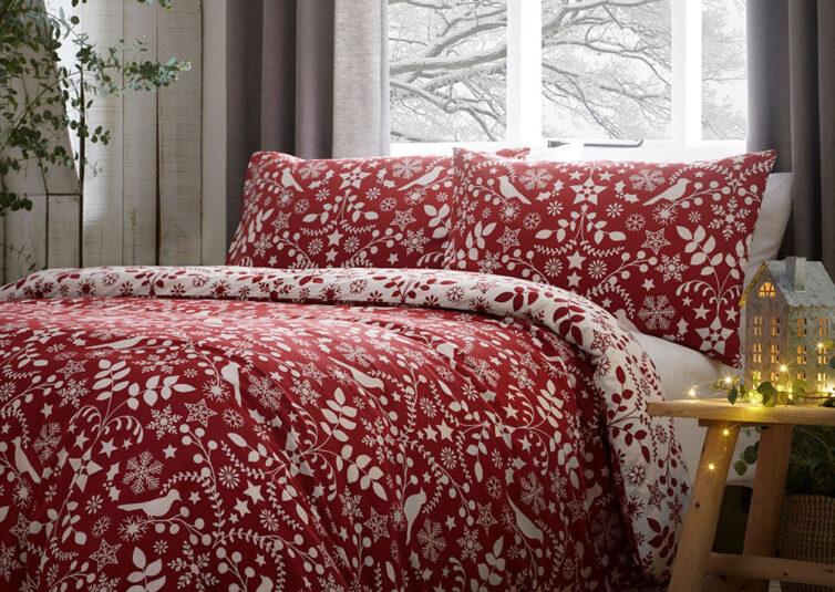Fusion Nordic Red Duvet Set Leekes.co.uk