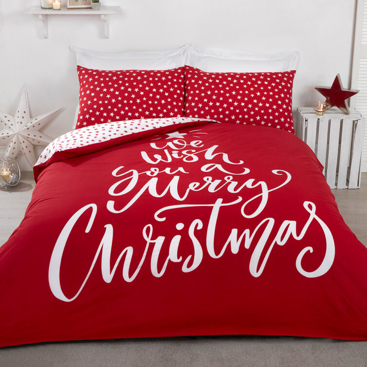 Wish A Merry Christmas Duvet Cover and Pillowcase Set - TheRange.co.uk