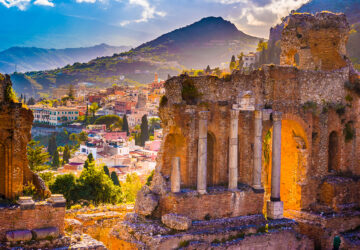 The Ruins of Taormina Theater at Sunset. Sicily.