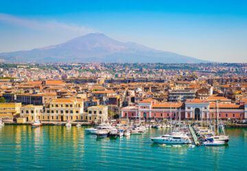 Catania Sicily, Italy. Mount Etna in the background
