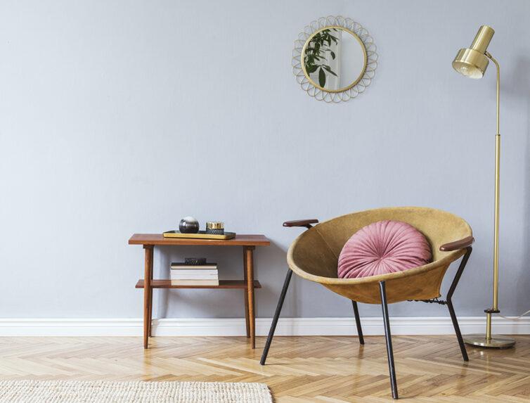 Herringbone flooring with stylish seat