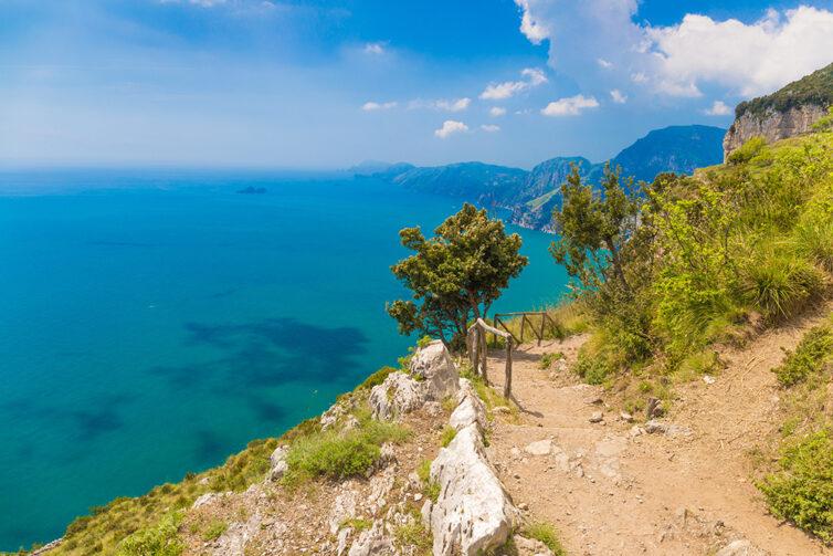 Beautiful views from path of the gods, Amalfi coast, Campagnia region, Italy