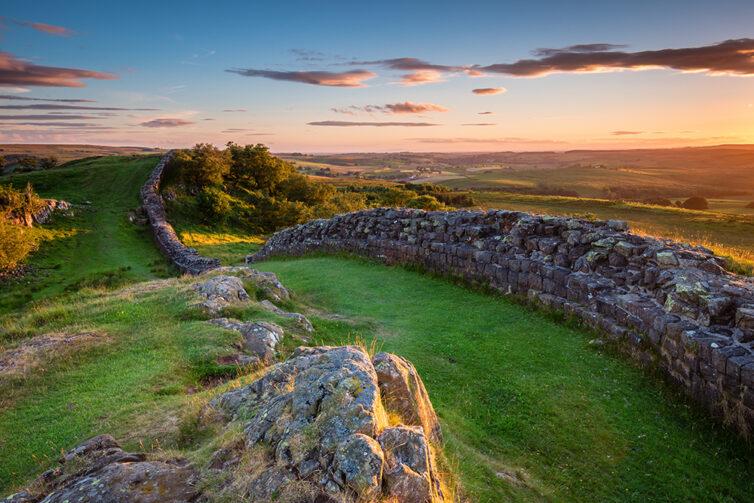 Hadrian's Wall at Walltown. Hadrian's Wall Path and Pennine Way