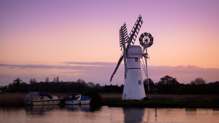Thurne Mill in the Norfolk Broads UK