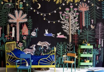 Annie Sloan Kids bedroom Chalk Paint mural by Lucy Tiffney in Athenian Black, Antibes and Barcelona.