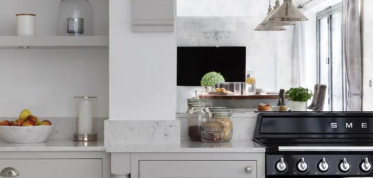 White kitchen with kitchen appliances - oven
