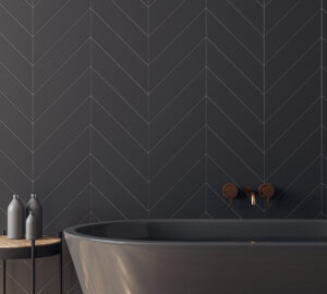 Grey bath and grey metro tiles