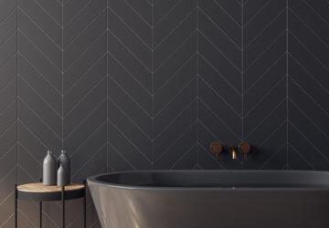 Grey bath and grey metro tiles