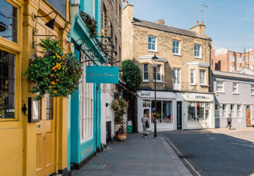 Picturesque street with small business and stores at Notting Hill in London, UK