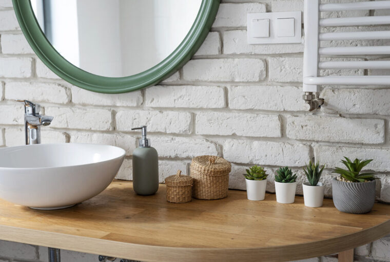 Bathroom sink and mirror. Decorated with plants.