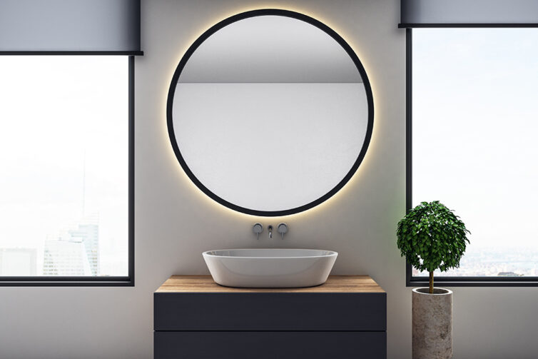 Large bathroom mirror with LED lighting