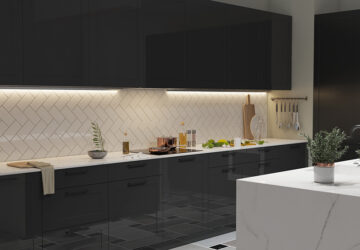 Dark kitchen cabinets with LED Strip lighting