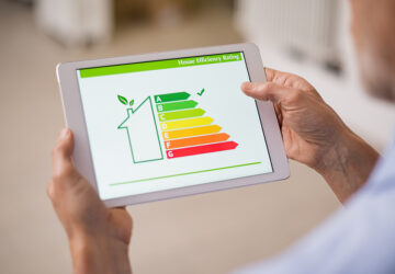 Energy efficiency house chart on tablet
