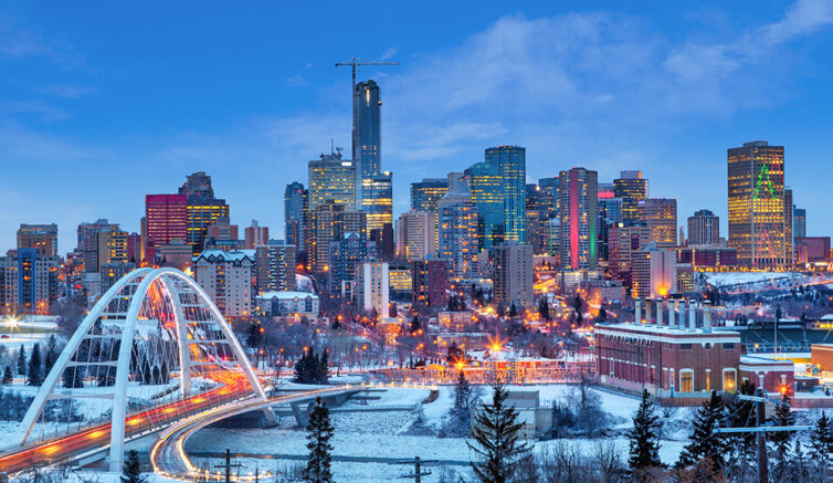 Canada - Edmonton Downtown Skyline Just After Sunset in the Winter