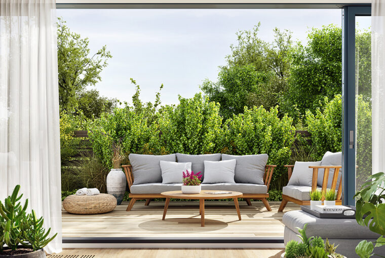 Lounge through to garden with decking and outdoor seating area