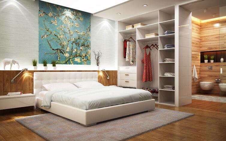 Large bedroom with ensuit bathroom. Built in room divider using wardrobe