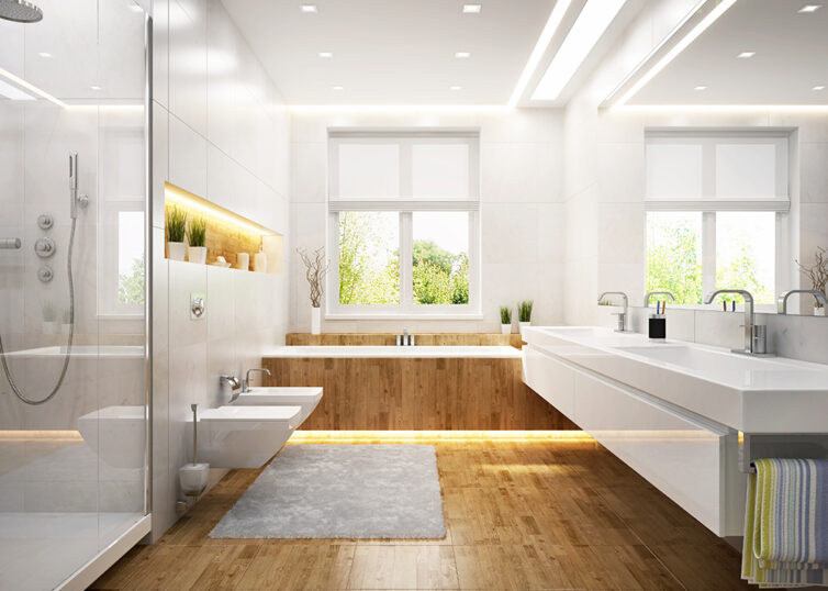 Wooden and white bathroom with overhead LED spot lights