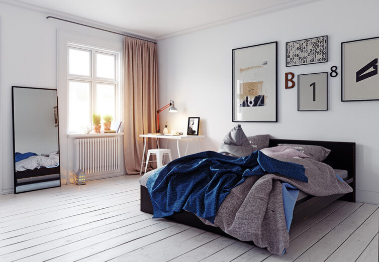 Masculine bedroom with large pictures/wall art above the bed