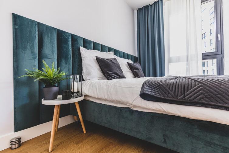 Velvet bed base and headboard