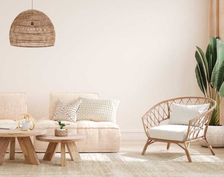 Tropical feel pastel lounge with wood and wicker furniture.