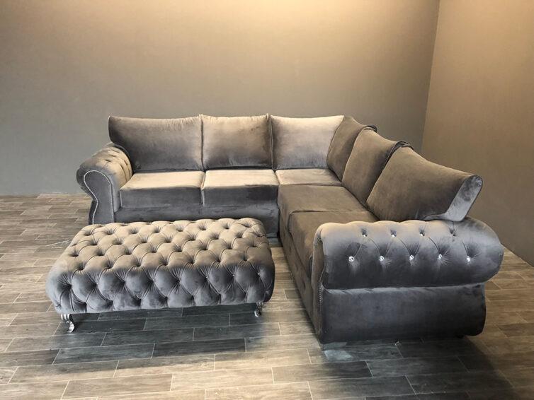 Rhino Italian Velvet Corner Sofa