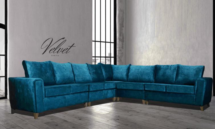 Mahi Corner Sofa Marble Teal