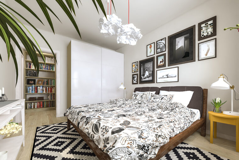 White bedroom with geometric rug and large stand alone wardrobe