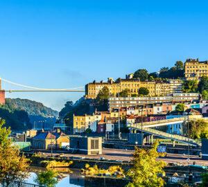 Clifton village in Bristol with Suspension bridge at background