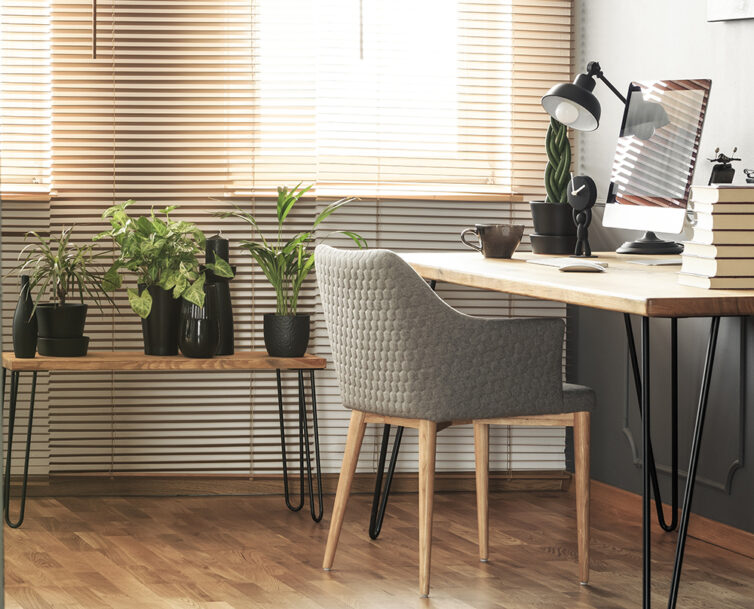 Home Offic with wooden flooring, plants and wooden desk with hairpin legs