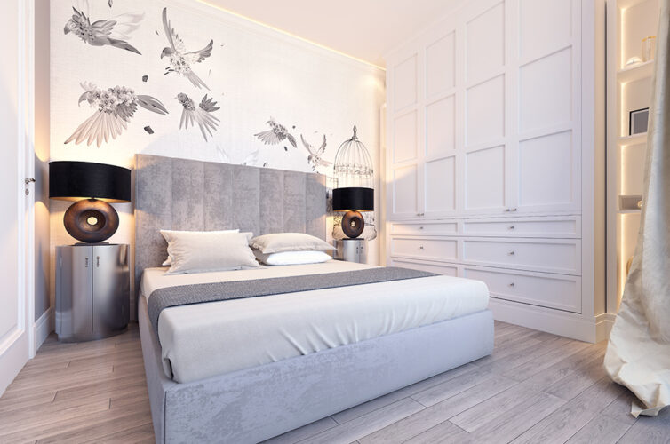 White and grey stylish bedroom with bird mural/wallpaper and builti-n bespoke wooden wardrobe
