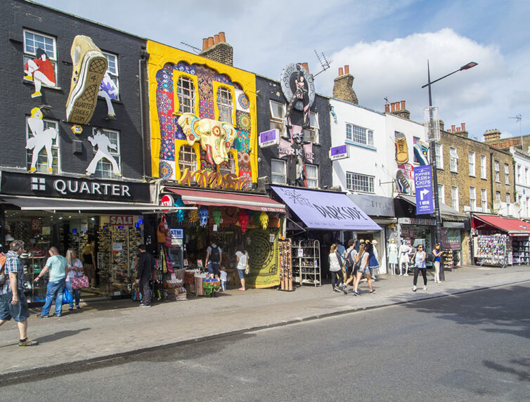 Row of shops in Camden, London, UK.