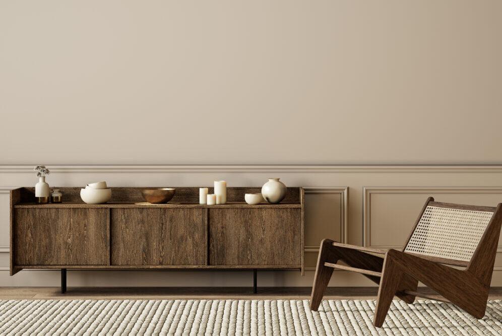 Brown interior design. 1970s style brown furniture