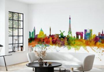 Paris skyline wall mural in office reception