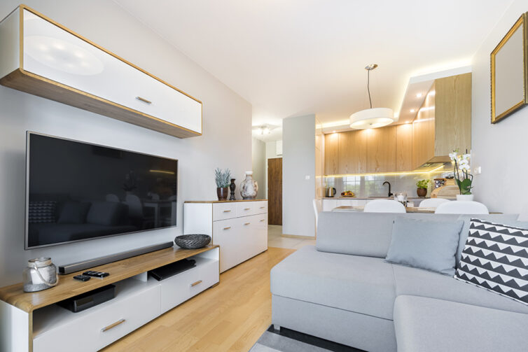 Small apartment with great storage and TV mounted on wall.