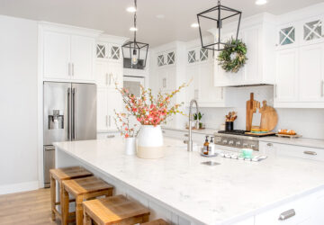 Kitchen with white counter tops