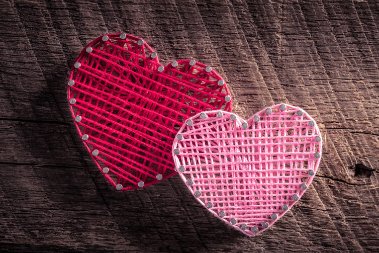 String Art made into hearts